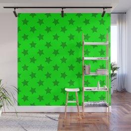 lime green stars, stars in yer eyez Wall Mural