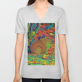 AnimalColor_Capybara_001_by_JAMColors Unisex V-Neck