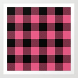 Pink & Black Buffalo Plaid Art Print