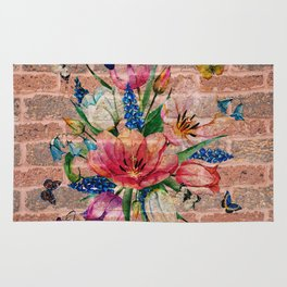 Chic Colorful flowers & Butterflies On Bricks Background Rug