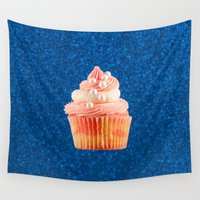 mandie manzano Wall Tapestries featuring Cupcake Love | Sparkly Strawberry on Navy Glitter by Mandie Marie