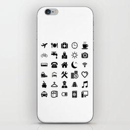 Basic black model: Traveler emoticon help for travel t-shirt iPhone Skin