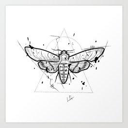 Moth Handmade Drawing, Made in pencil and ink, Tattoo Sketch, Tattoo Flash, Blackwork Art Print