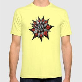 Spiked Abstract Flower In Red And Black T-shirt