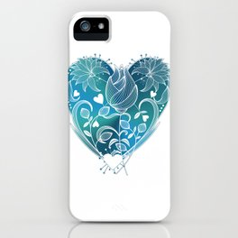 White Inked Floral Heart - Blues iPhone Case