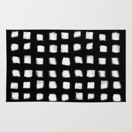 Polka Strokes - Off White on Black Rug