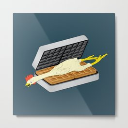 Rubber Chicken & Waffles Metal Print