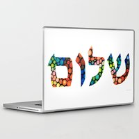 jewish Laptop & iPad Skins featuring Shalom 10 - Jewish Hebrew Peace Letters by Sharon Cummings