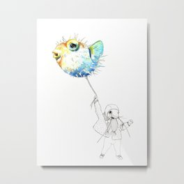 Pufferfish - Puffed up Metal Print