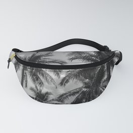 Tropical Jungle Palm Trees in Black and White Fanny Pack