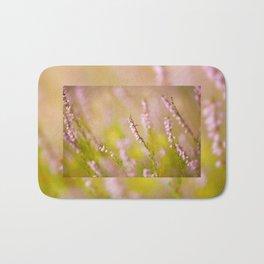 Soft focus of pink heather macro Bath Mat