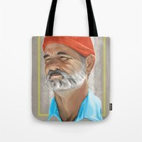 the life aquatic Tote Bags featuring Steve Zissou Life Aquatic  by Soren Barton