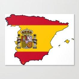 Spain Map with Spanish Flag Canvas Print