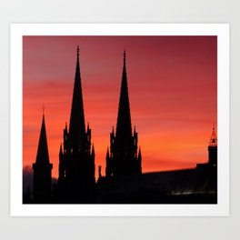 Gothic Cathedral At Dusk Art Print