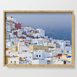 Spectacular view of Tetouan Morocco, watercolor painting of a tourist town, vacation clip art Serving Tray