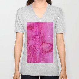 Girly neon pink magenta abstract watercolor paint Unisex V-Neck