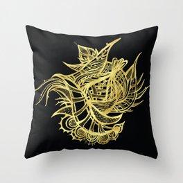 GOLDEN BEAUTY - GOLD ON BLACK Throw Pillow