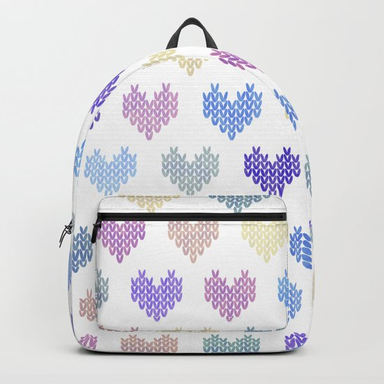Colorful Knitted Hearts VII Backpack