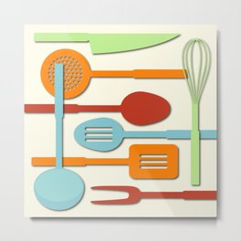 Kitchen Colored Utensil Silhouettes on Cream III Metal Print