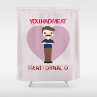 meat Shower Curtains featuring Meat Tornado by My Last Dollar Dress