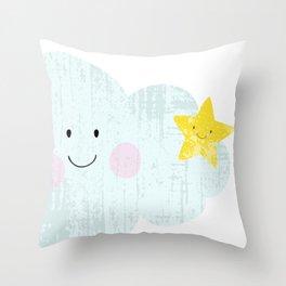 Kawaii Happy Cloud Throw Pillow