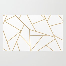 Geometric Gold Hexagon Pattern Rug