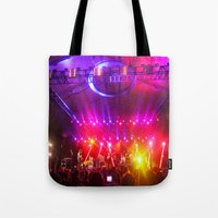 coachella Tote Bags featuring Midnight City M83 Coachella by The Electric Blue / Yen-Hsiang Liang (Gr