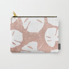 Tropical white monstera leaves on rose gold glitter ombre faux rose gold foil Carry-All Pouch