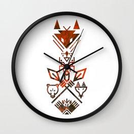 Tribal Sign Animals Wolf Bear Fox Wall Clock