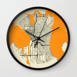 Seattle Map Moon Wall Clock