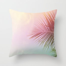 Pink Palm Leaf Poster Throw Pillow