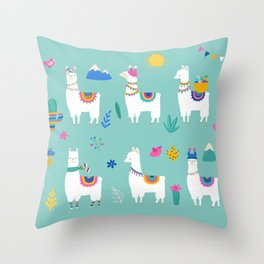 Hola, Llama Throw Pillow