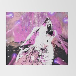 WOLF PINK MOON SHOOTING STARS Throw Blanket