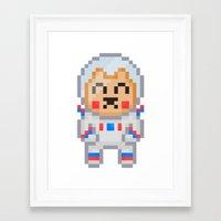 8bit Framed Art Prints featuring 8Bit Astrobear by Bear Picnic