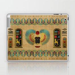 Egyptian Scarab  beetle  Ornament on papyrus Laptop & iPad Skin