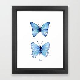 Two Blue Butterflies Watercolor Framed Art Print