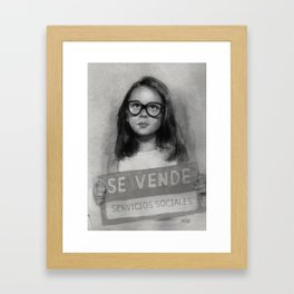 """Sold social services"" Social criticism Framed Art Print"