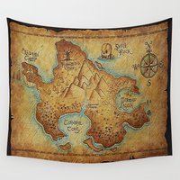 """pirates Wall Tapestries featuring Pirates Map by """"CVogiatzi."""