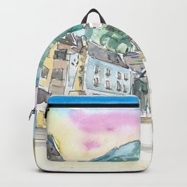 Hallstatt Romantic Market Place with Mountain and Waterfall Sound Backpack