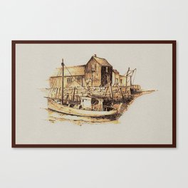 Moored at the Fish House Canvas Print