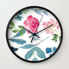 Floral on White Wall Clock