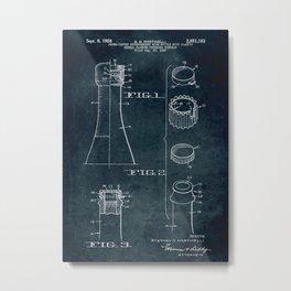1957 - Crown-capped effervescent wine bottle patent art Metal Print