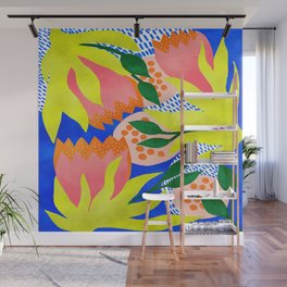 Bold Flowers on Blue Wall Mural
