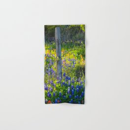 Country Living - Fence Post and Vines Among Bluebonnets and Indian Paintbrush Wildflowers Hand & Bath Towel