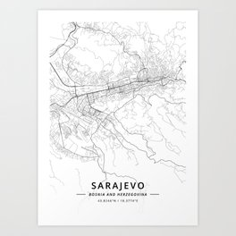 Sarajevo, Bosnia and Herzegovina - Light Map Art Print