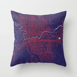 Spokane, WA, USA, Blue, White, City, Map Throw Pillow