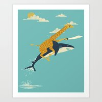 giraffe Art Prints featuring Onward! by Jay Fleck