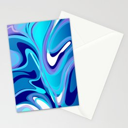 Liquify in Turquoise, Lavender, Purple, Navy Stationery Cards