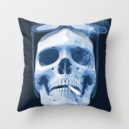 Skull Smoking Cigarette Blue Throw Pillow