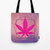 marijuana Tote Bags featuring vitruvian marijuana by Emekli Astronot